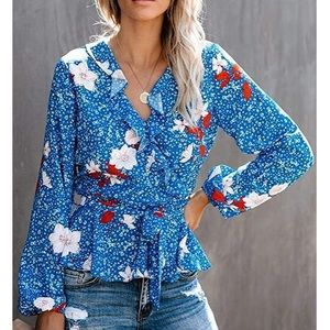 Classic Blue Long Sleeve Floral Blouse Womens